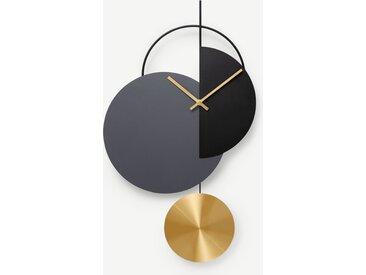 Levvy, horloge pendule, laiton et métal noir
