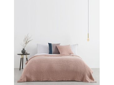 Grove, couvre-lit gaufré 100% coton délavé, 150 x 200 cm, rose poudré