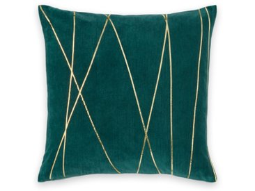 Lonford, coussin en velours 45 x 45 cm, vert paon et doré