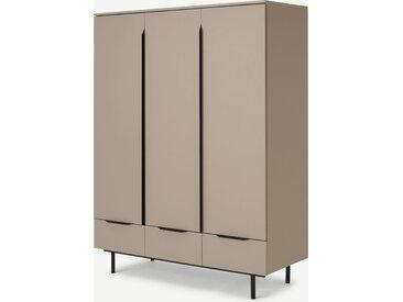 Damien, armoire 3 portes et 3 tiroirs, cappuccino et noir
