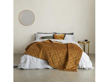Sharmini, couvre-lit en velours 225 x 220 cm, ocre sombre