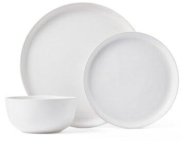 Kobe, service de 12 pièces en faïence, blanc
