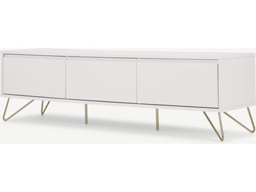 Elona, grand meuble TV, blanc ivoire et laiton