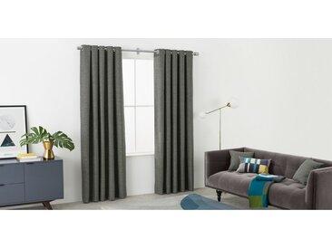 Walden, une paire de rideaux à œillets doublés au fini texturé 168 x 228 cm, gris charbon
