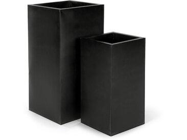 Razan, lot de 2 grands cache-pots carrés, noir
