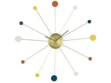Sputnik, grande horloge murale, multicolore