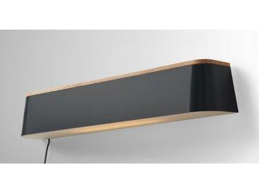 Elina, applique murale LED et étagère, métal gris et bois d'hévéa
