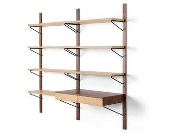 Jory, étagère modulable avec bureau, noyer et chêne