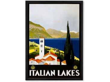 Italian Lakes, affiche touristique en couleur et cadre noir format A2