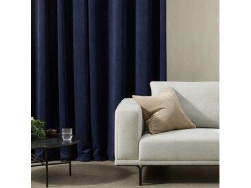 Selky, paire de rideaux à œillets, 140 x 260 cm, velours côtelé bleu marine