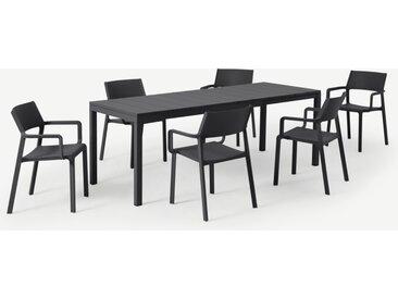 Nardi, ensemble table et 6 chaises, fibre de verre, résine et aluminium gris foncé