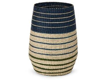 Inca, panier à linge à rayures en jonc, bleu