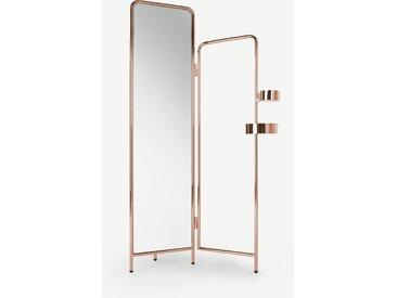 Alana, valet avec miroir intégré, cuivre