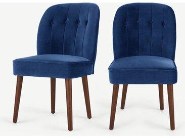 Margot, lot de 2 chaises, velours bleu électrique et pieds en bois foncé