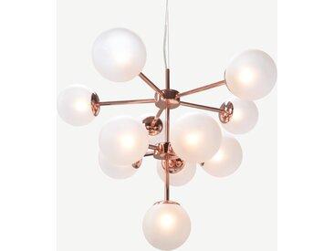 Globe, lustre 11 ampoules, cuivre et verre dépoli