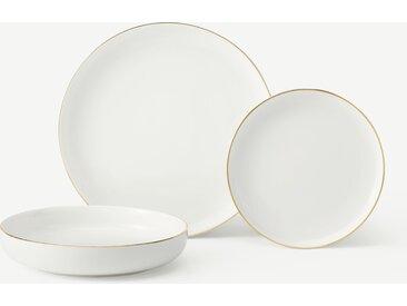 Taryn, service de 12 pièces en porcelaine, blanc et doré