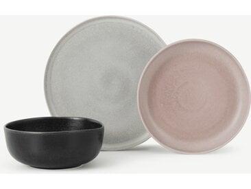 Ingram, service 12 pièces, rose, gris et charbon