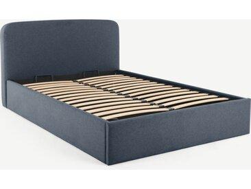 Besley, lit coffre double (140 x 200) avec sommier à lattes, bleu Égée