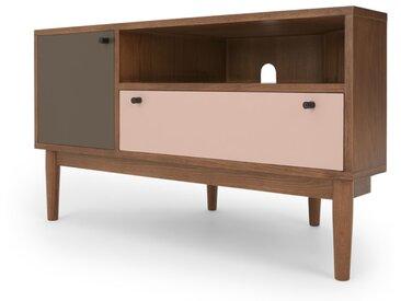 Campton, meuble TV d'angle, chêne teinté, gris et rose