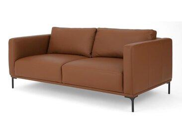 Milo, grand canapé 2 places, cuir café