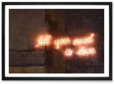 Illustration typographique néon et cadre, All you need is love A1