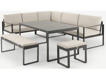 Catania, ensemble table, canapé d'angle et 2 bancs d'extérieur en métal gris, bois composite polywood et tissu crème