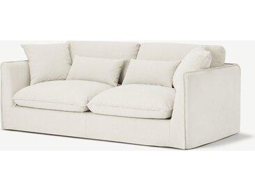 Kasiani, canapé 3 places déhoussable, coton et lin blanc cassé