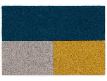Elkan, grand paillasson 60 x 90 cm, bleu et jaune