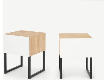 Hopkins, lot de 2 tables de chevet, effet chêne et fini blanc