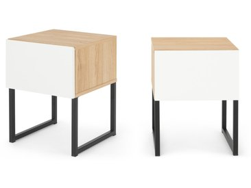 MADE Essentials - Hopkins, lot de 2 tables de chevet, effet chêne et fini blanc