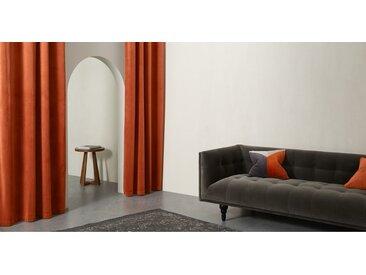 Julius, une paire de rideaux à œillets doublés en velours 168 x 228 cm, orange brûlé