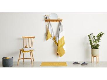 Aiko lot de 2 serviettes essuie-mains 100% coton, gris et jaune moutarde