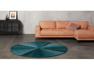 Haldor, tapis rond en laine tufté main, 200 cm de diamètre, bleu