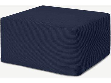 Loa, pouf carré coussin de sol, velours bleu marine
