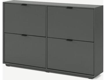 Marcell, grand meuble à chaussures avec 4 compartiments, gris