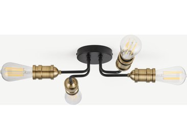 Starkey, plafonnier 4 ampoules, noir et laiton