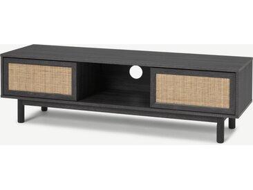 Pavia, grand meuble TV, rotin naturel et effet bois noir