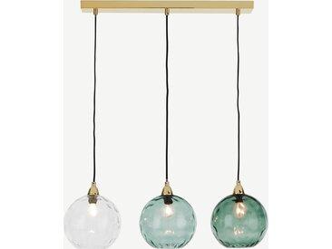 Ilaria, suspension 3 ampoules, verre teinté tons de bleu et laiton