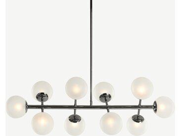 Globe, grand lustre 10 ampoules, nickel noir et verre dépoli