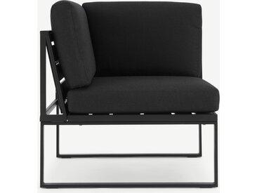 Catania, module d'angle pour canapé d'extérieur en métal, bois composite polywood et tissu noir
