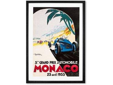 Monaco, affiche illustrée vintage en couleur et cadre noir format A1