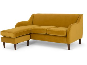 Helena, grand canapé d'angle, velours jaune curcuma
