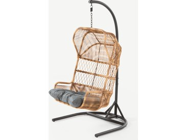 Lyra, fauteuil suspendu en métal gris anthracite, résine tressée et tissu gris