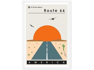Affiche de voyage illustrée en couleur et cadre format A2, Route 66