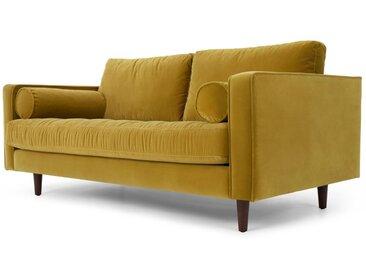 Scott, grand canapé 2 places, velours doré