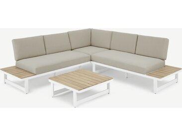 Topa, ensemble canapé d'angle et table basse d'extérieur en métal blanc, acacia et tissu beige
