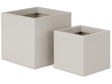 Razan, lot de 2 cache-pots coniques en acier galvanisé, pierre