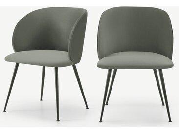Adeline, lot de 2 chaises à accoudoirs, velours vert sauge et noir