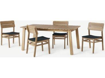 Jala, ensemble table et 4 chaises, bois d'acacia et tressage noir