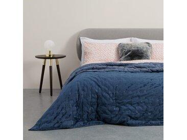 Tabitha, couvre-lit en velours matelassé 225 x 220 cm, bleu de minuit
